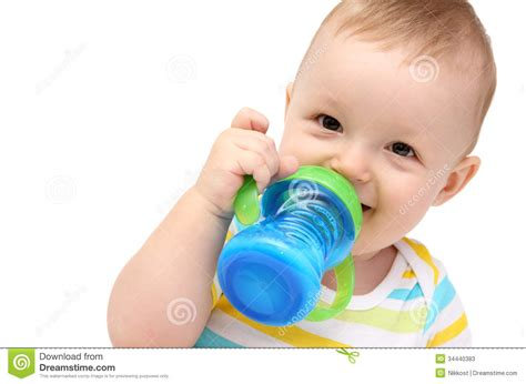 Baby With Milk Bottle Stock Photos Image 34440383