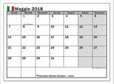 Calendario maggio 2018, Italia