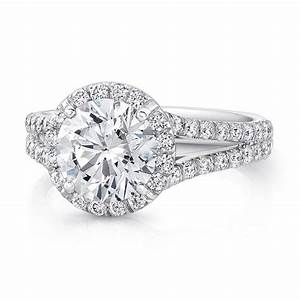 Uneek split shank round halo diamond engagement ring lvs873 for Split shank engagement ring with wedding band