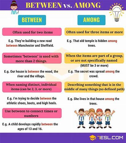 Between Among Difference Examples Prepositions Words Amongst