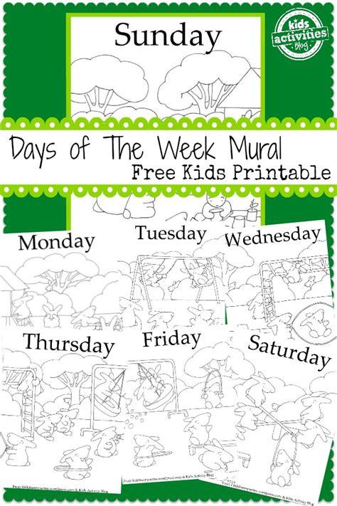 days   week mural  kids printable