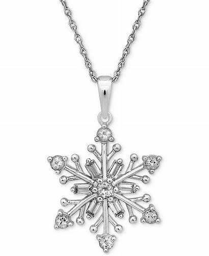 Snowflake Necklace Silver Pendant Sterling Cubic Zirconia