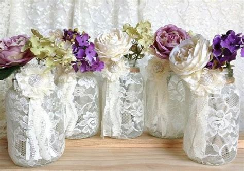5 ivory lace covered jar perfect for wedding decorations