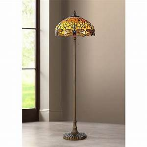 Golden dragonfly tiffany style antique brass floor lamp for Tiffany style vase floor lamp