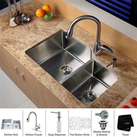 faucet placement for kitchen sink faucet com khu123 32 kpf2120 sd20 in stainless steel by