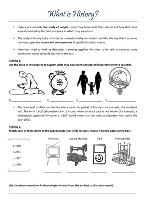 'what Is History' Introductory Worksheet By Claireebolton  Teaching Resources Tes