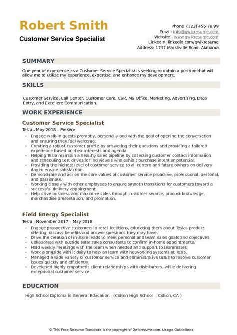 Customer Care Resume by Customer Service Specialist Resume Sles Qwikresume