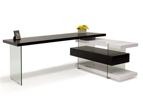 White Lacquer Desk by Modern Wenge White Lacquer L Shaped Desk With Glass Legs