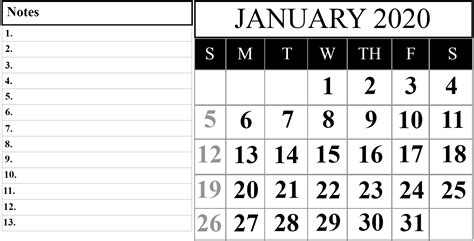 schedule month january printable calendar