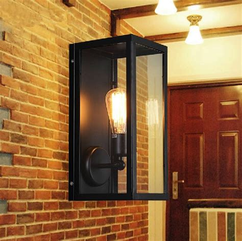 vintage loft filament narrow box wall ls industrial glass wall sconce for home outdoor light