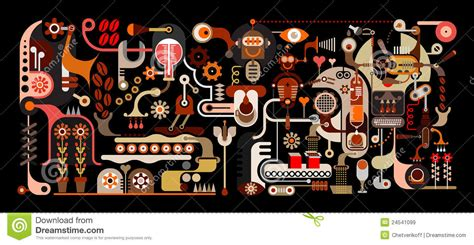 Coffee Factory   Vector Illustration Stock Vector   Image: 24541099