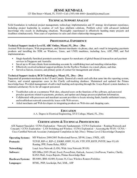 exle technical support analyst resume sle
