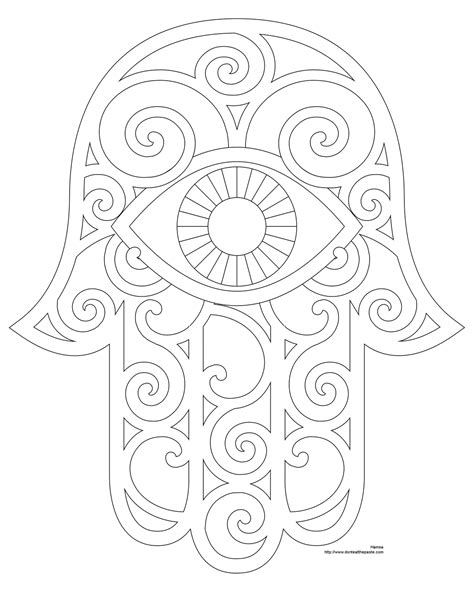printable hamsa tattoo | Hamsa Coloring Page And Embroidery Patterns | Embroidery patterns