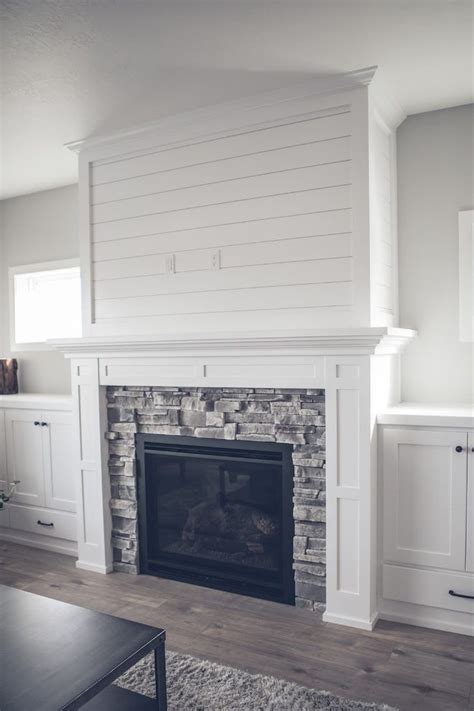 image result  grey stacked stone fireplace white built