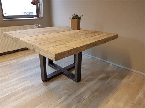kleine vierkante eettafel eettafel naar wens samen te stellen firma hout staal