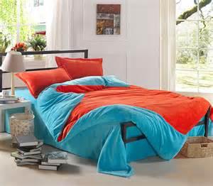 Light Blue and Orange Teen Bedding