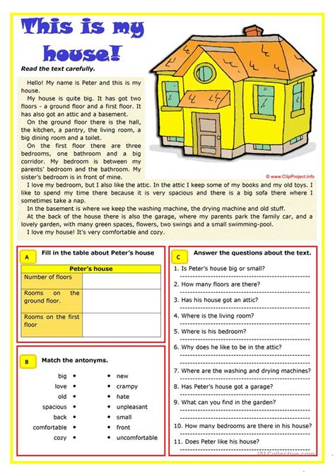 house worksheet  esl printable worksheets