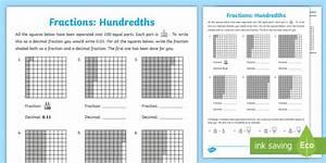 Hundredths Worksheet    Worksheet