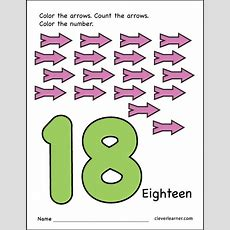 Number 18 Writing, Counting And Identification Printable Worksheets For Children