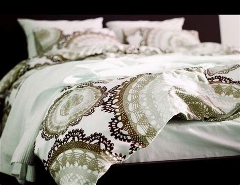 Ikea Lyckoax Brown Beige White Duvet Cover Set King Lace