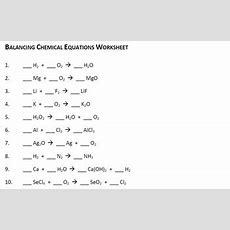 Balancing Chemical Equations Practice Worksheet Equations Alistairtheoptimist Free Worksheet