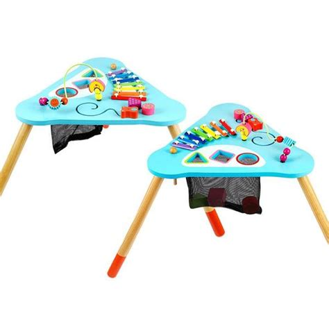 baby activity table wooden children kids baby colorful wooden activity table round