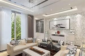 3D design wallpaper for living room