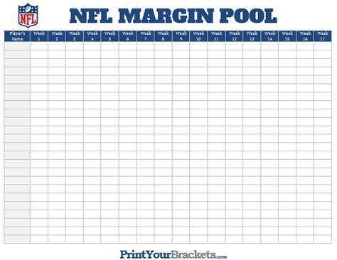 Www Free Office Football Pool by Nfl Margin Pool Printable Point Margin Office Pool