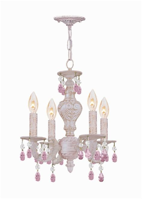 antique white metal mini chandelier with colored cystals