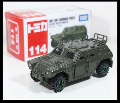 Tomica Die Cast Vehicles tomica 114 jsdf light armoured vehicle japan army 1 66