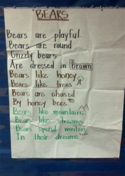 bear poem kindergarten pinterest finger plays