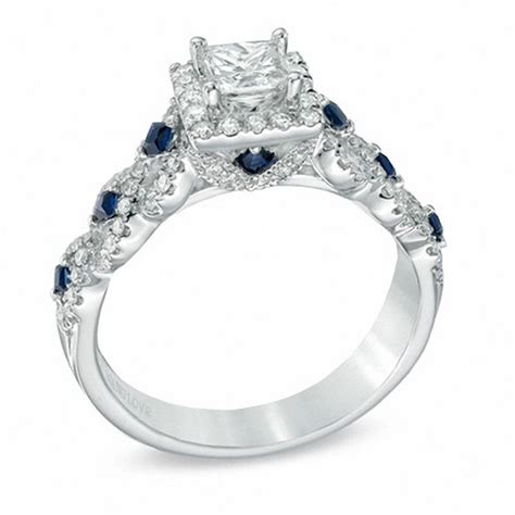 vera wang love collection 1 ct t w diamond and blue sapphire engagement ring in 14k white gold