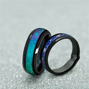 fashion titanium black mood rings temperature emotion With mood wedding rings