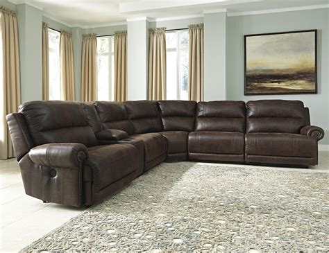 Recliner Sectional Sofas by Signature Design Luttrell 6 Power Reclining
