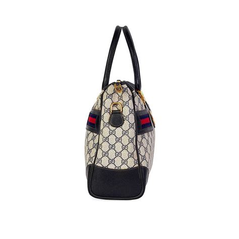 gucci vintage blue gg web boston bag luxity