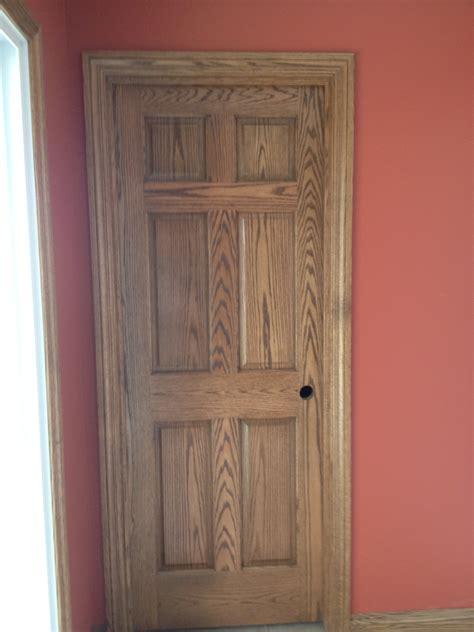 oak  panel hand wiped stain miller door  trim