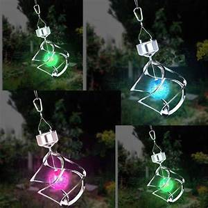 Rgb colorful solar led garden lights spinning with wind
