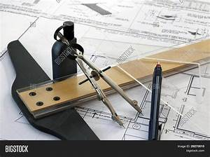 Manual Drafting Tools Before Digital Age Stock Photo