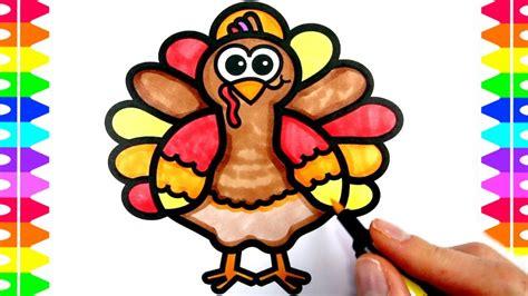 happy thanksgiving coloring   draw  cartoon turkey