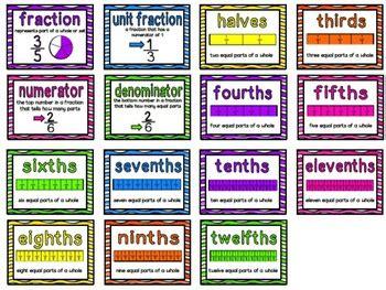 fraction vocabulary cards  jamiep teachers pay