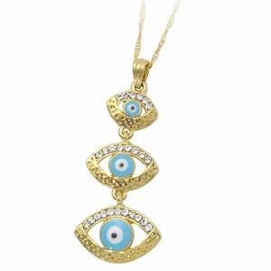 18K gold plated muslim turkish evil eye crystal fashion ...
