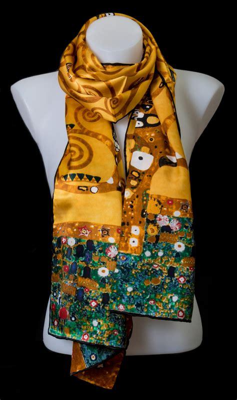 gustav klimt silk scarf  tree  life gold