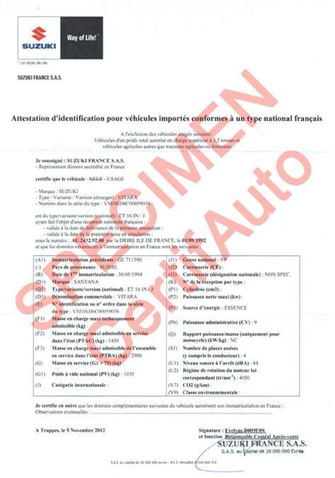 Suzuki Certification by Certifauto Certificate Of Conformity C O C