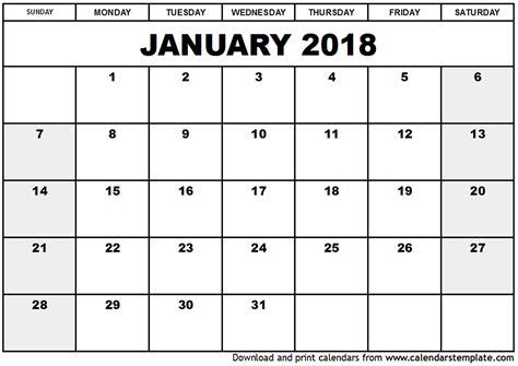 calendar template january 2018 january 2018 calendar template