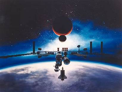 Earth Moon Station Space Mars Galaxy Background