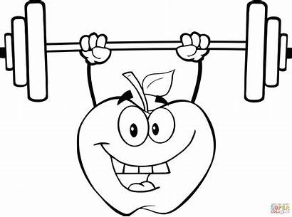 Weights Lifting Pesas Apple Dibujo Coloring Colorear