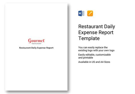 restaurant daily expense report template  word apple pages
