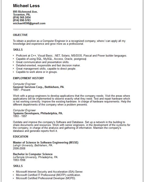 Career Objective For Resume Computer Engineering by Computer Engineer Resume Exle Free Templates Collection
