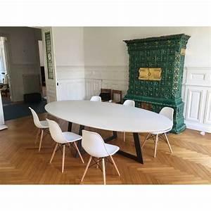 Table de salle a manger ovale carat blanche deco en for Table salle a manger ovale
