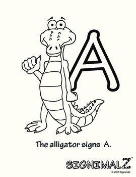 american sign language animal alphabet coloring book